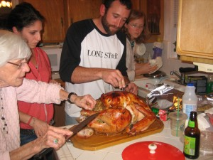 Looking at the turkey