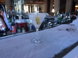 Martini glass on bar top